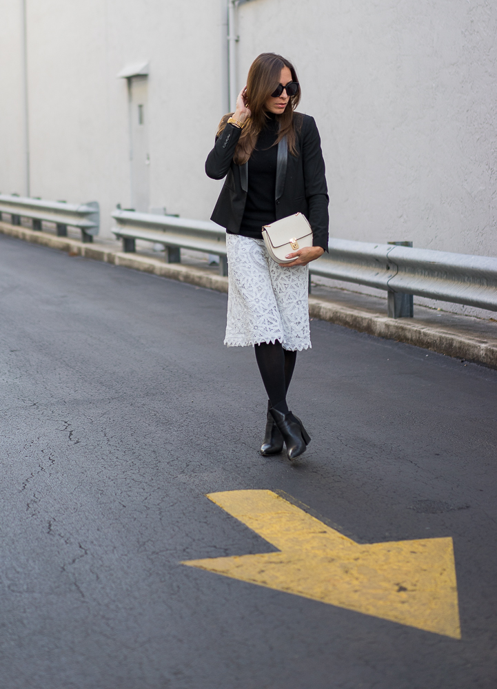 Another Way to Wear a White Lace Skirt
