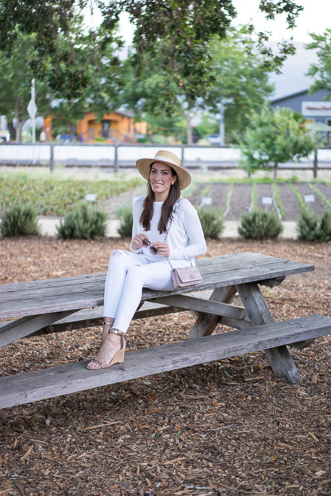 Rag and Bone raglan top, AG white jeans, Rag and Bone Laurie boater hat