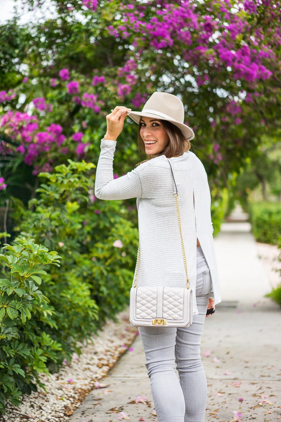 32a494772f A Glam Lifestyle blogger wearing grey Free People sweater with Club Monaco  fedora and Sam Edelman ...