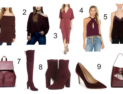 A Glam Lifestyle blogger sharing her color crush - burgundy with picks including a burgundy dress, burgundy sweaters, burgundy booties, and burgundy bags