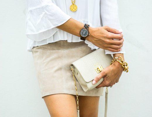 A Glam Lifestyle fashion blogger collaborates with JORD wood watch wearing JORD Fieldcrest dark sandalwood wood watch and Gigi New York Catie bag