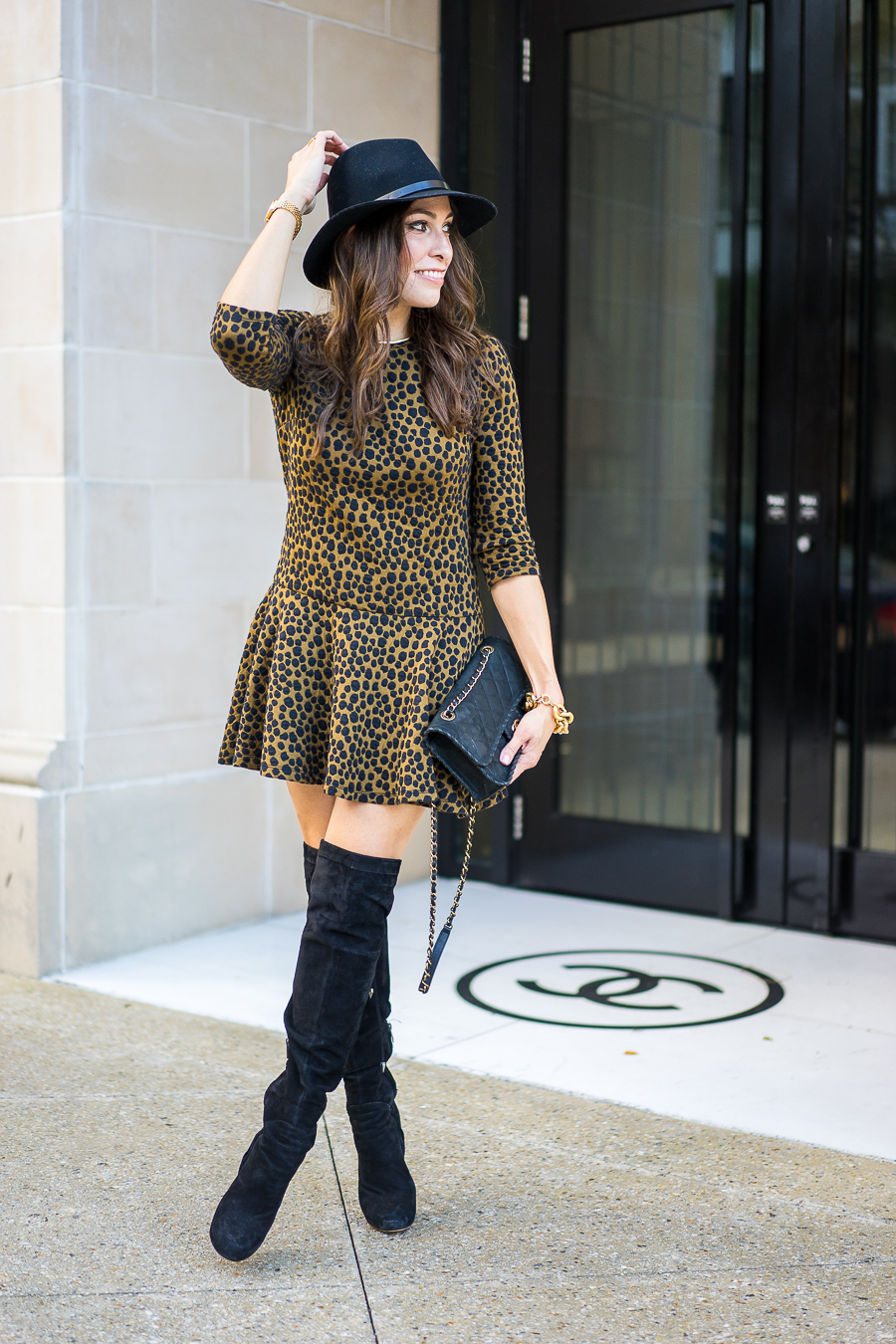 leopard print dress and boots
