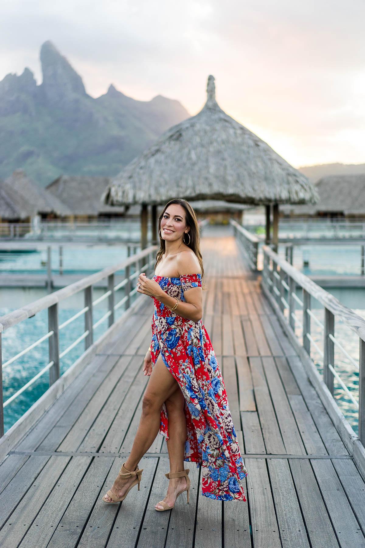 Fashion blogger Amanda from A Glam Lifestyle wears August the Label floral maxi goddess dress at St Regis Bora Bora Resort