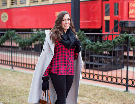 A Glam Lifestyle fashion blogger Amanda wears casual Christmas outfit in buffalo plaid shirt with Nordstrom reversible tote and black infinity scarf topped with Club Monaco Daylina coat