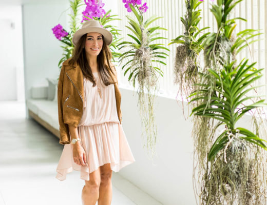 A Glam Lifestyle blogger Amanda wears Ramy Brook blush dress and tan suede moto jacket at Art Basel in Miami Beach 2016