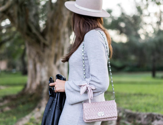 A Glam Lifestyle blogger Amanda confirms her New Years goals while wearing Club Monaco Sohrab sweater dress and Club Monaco fedora while carrying Miu Miu Nappa Crystal bag