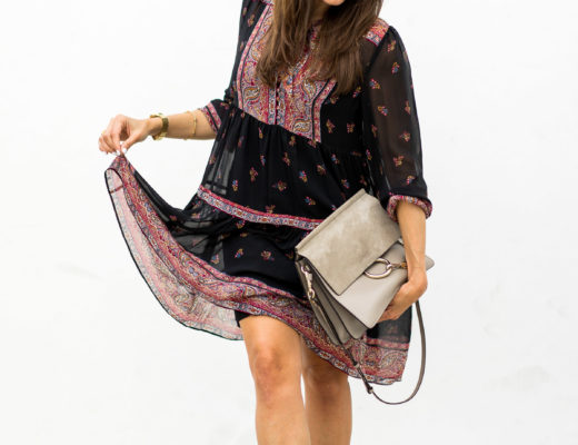 Blogger Amanda from A Glam Lifestyle wears Joie Alpina dress over the weekend with Rag and Bone black fedora black ASKA Troy booties and Chloe Faye bag