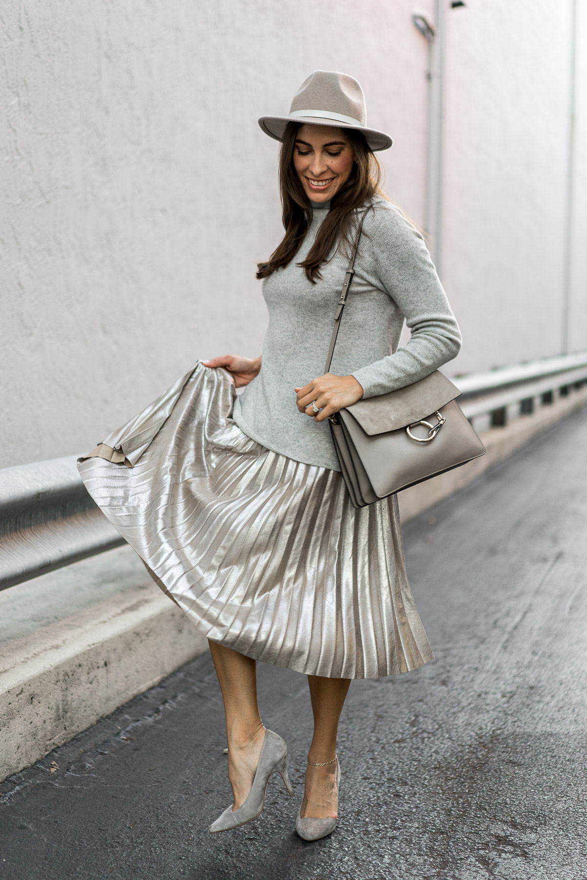How to Wear: Metallic Midi Skirt