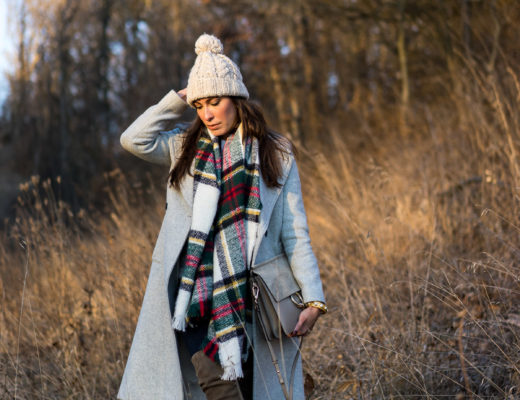Amanda from A Glam Lifestyle blog carries Chloe Medium Faye bag while wearing Stuart Weitzman Highland over the knee boot in praline suede with her Club Monaco Daylina coat and Zara plaid scarf at Christmas in Chillicothe Illinois