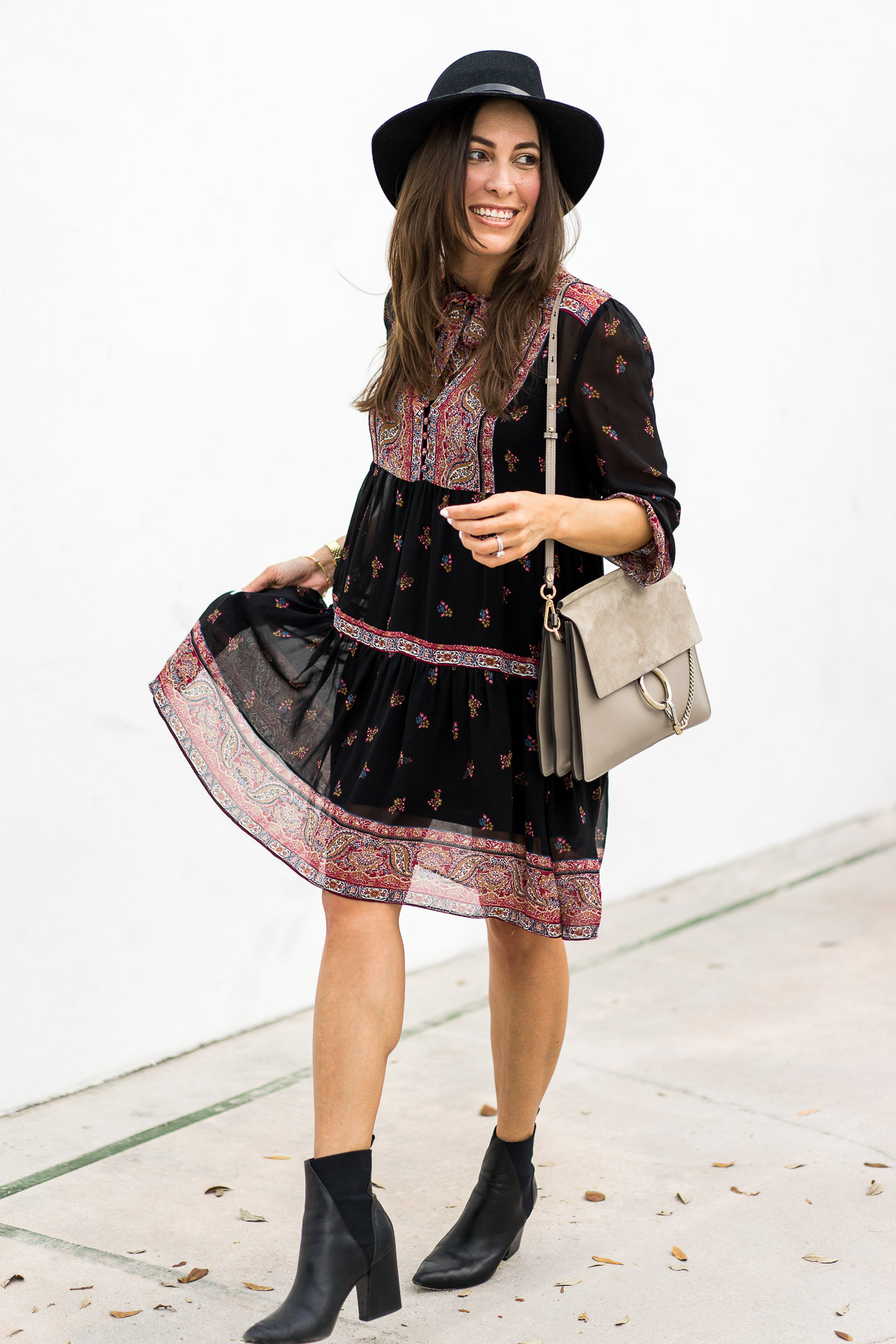 Fashion blogger Amanda from A Glam Lifestyle wears Joie Alpina dress with her Chloe Faye bag and ASKA Collection Troy booties