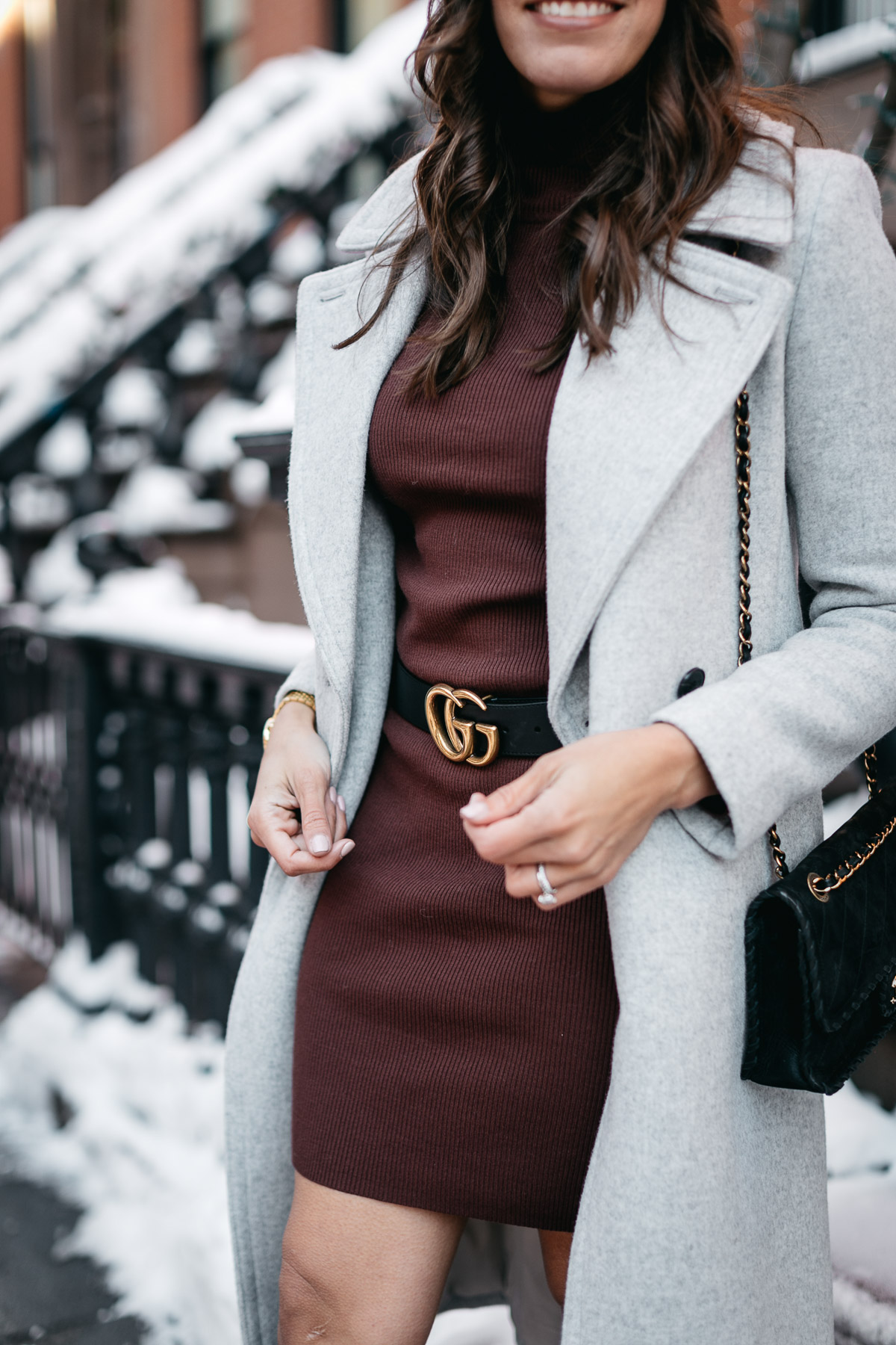 Gucci Double G belt goes well with burgundy sweater dress and grey Club Monaco coat worn by Amanda of A Glam Lifestyle blog during NYFW Spring 2017