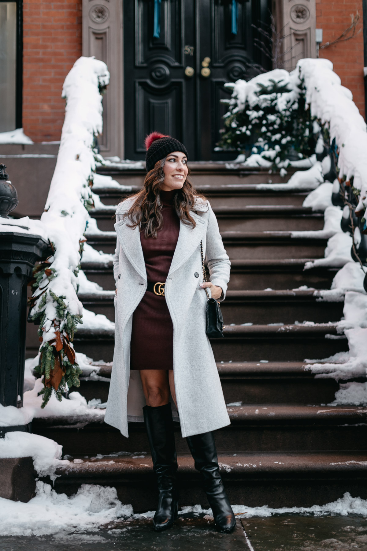 525 America Burgundy sweater dress with Gucci double G belt and Club Monaco Daylina coat styled by Amanda from A Glam Lifestyle blog during NYFW Spring 2017