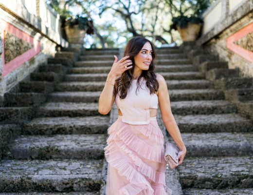 A Glam Lifestyle blogger Amanda wears sheer BCBG blush tulle dress at Viscaya in Miami