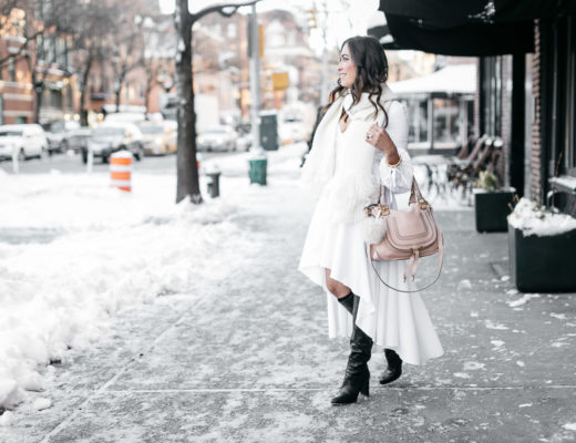 Fashion blogger Amanda wears Carolina Constas Lena white shirt dress in Greenwich Village during NYFW Spring 2017 with Chloe Marcie bag and MGemi Pendolo black boots