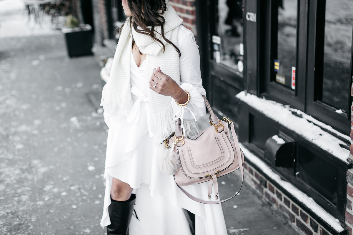 Carolina Constas Lena white shirt dress with Club Monaco Juki white fringed scarf and MGemi Pendolo black boots worn by Amanda from A Glam Lifestyle blog during NYFW Spring 2017 for NYFW street style