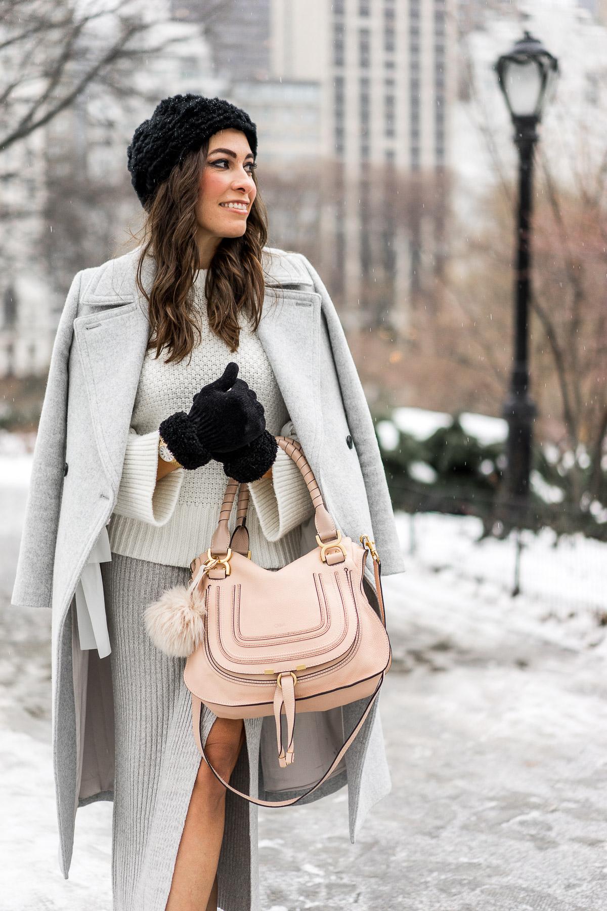 BCBGeneration grey midi skirt worn by fashion blogger Amanda of A Glam Lifestyle during NYFW with Chloe Marcie bag and Club Monaco Daylina coat and sweater