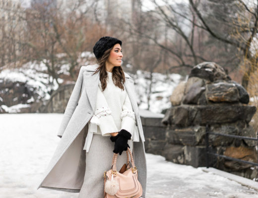NYFW street style with a neutral look featuring BCBGeneration grey midi skirt and Club Monaco coat and sweater details by South Florida fashion blogger Amanda from A Glam Lifestyle
