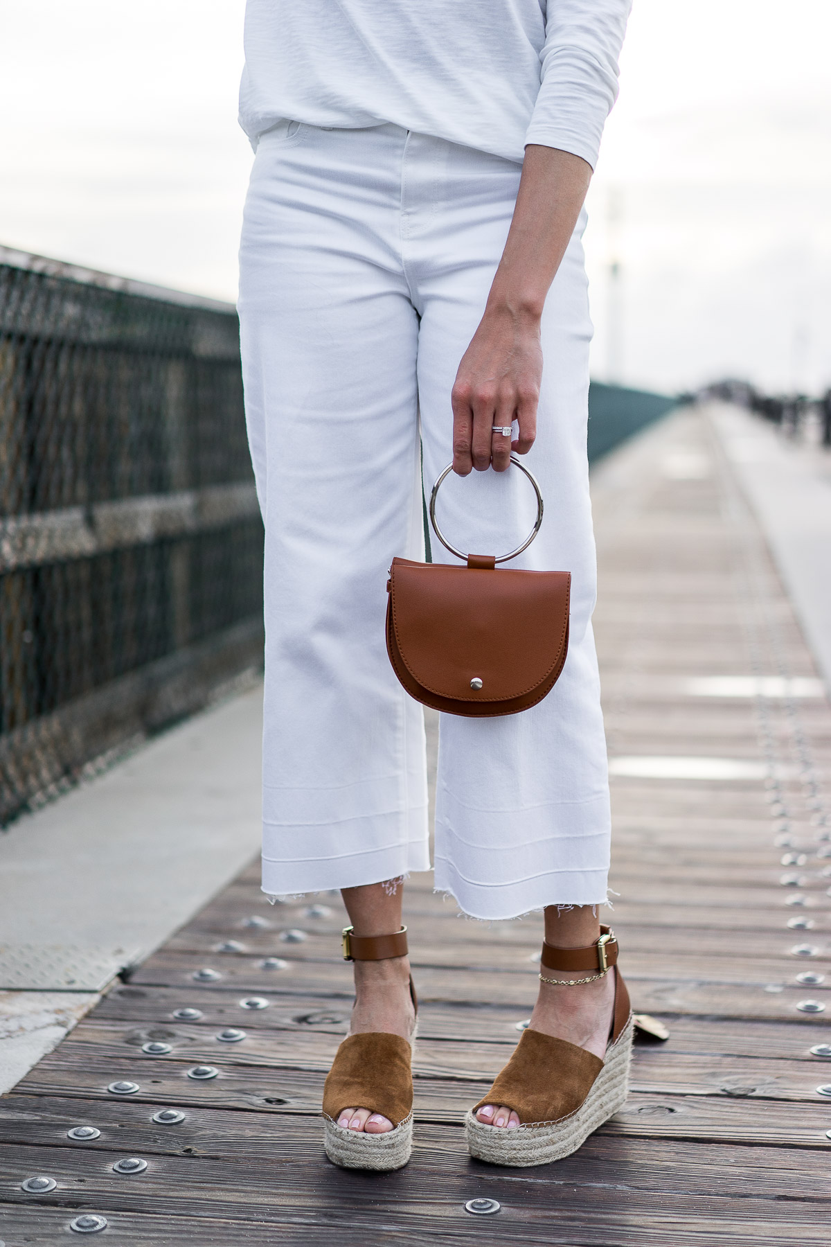 Old Navy's Spring collection includes high waist wide leg white ankle jeans as worn by blogger Amanda from A Glam Lifestyle