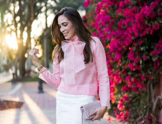 Wear a bow blouse to show your Spring style like fashion blogger Amanda from A Glam Lifestyle