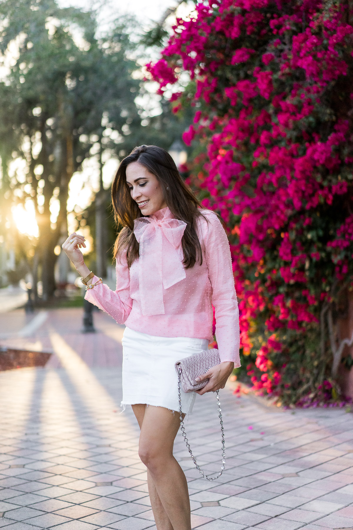 Spring Style Bow Blouse Chicwish Pink Bow Organza Top White Denim Skirt A Glam Lifestyle South