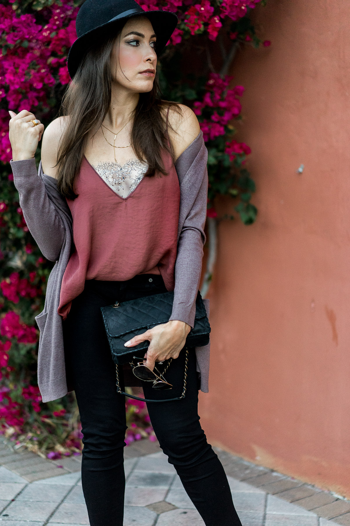 Free People Deep V lace cami worn with Old Navy open front cardigan as shown by South Florida blogger Amanda from AGlamLifestyle