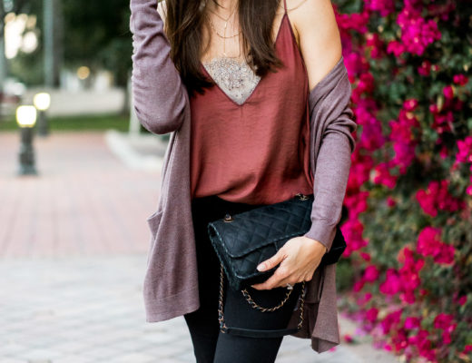 Free People Deep V Cami is styled by Amanda of AGlamLifestyle blog with classic Chanel bag and Old Navy open front cardigan