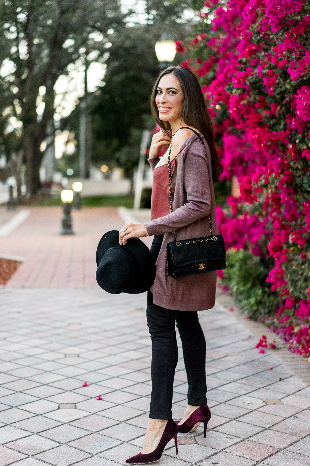 Old Navy open front cardigan worn with Free People Deep V bandeau cami by AGlamLifestyle blogger Amanda