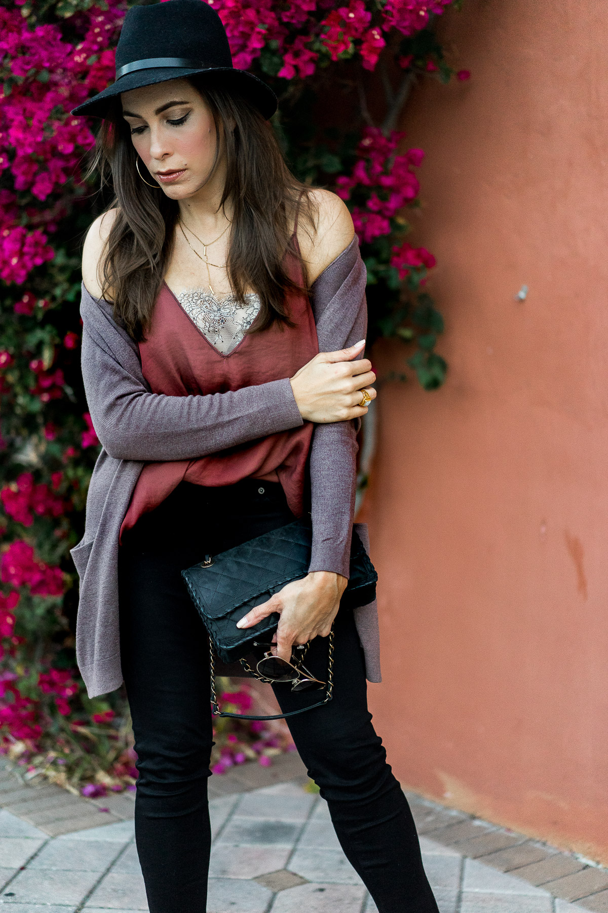 Free People Deep V cami with lace is worn by Amanda of AGlamLifestyle blog with her draped Old Navy open front cardigan while carrying her classic Chanel bag