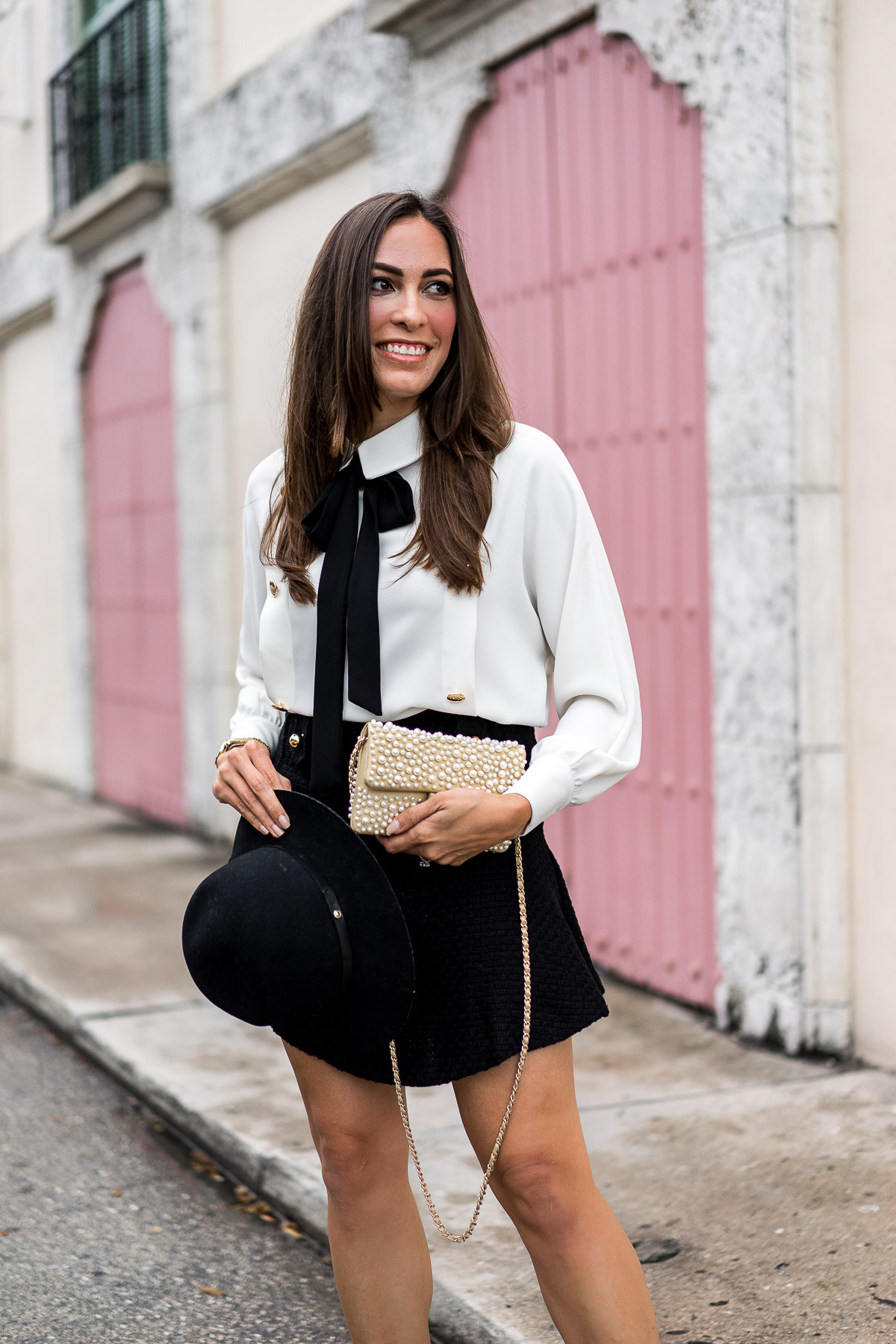Storets tweed skirt styled by Amanda of A Glam Lifestyle blog with her Chanel pearl bag and Rag and Bone fedora