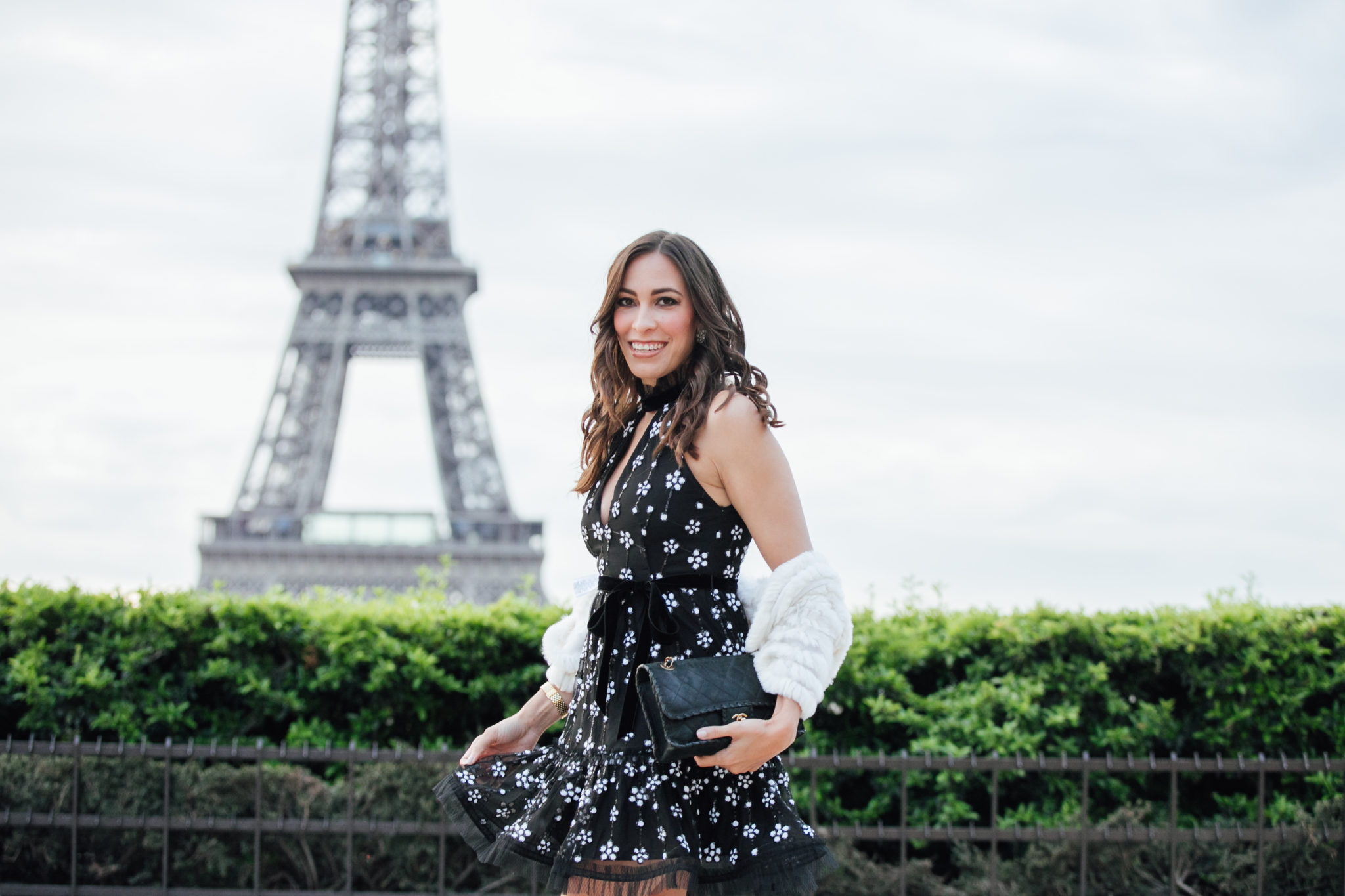 Alexis dresses are stunning for any event as shown by Amanda of A Glam Lifestyle blog in Paris at the Eiffel Tower