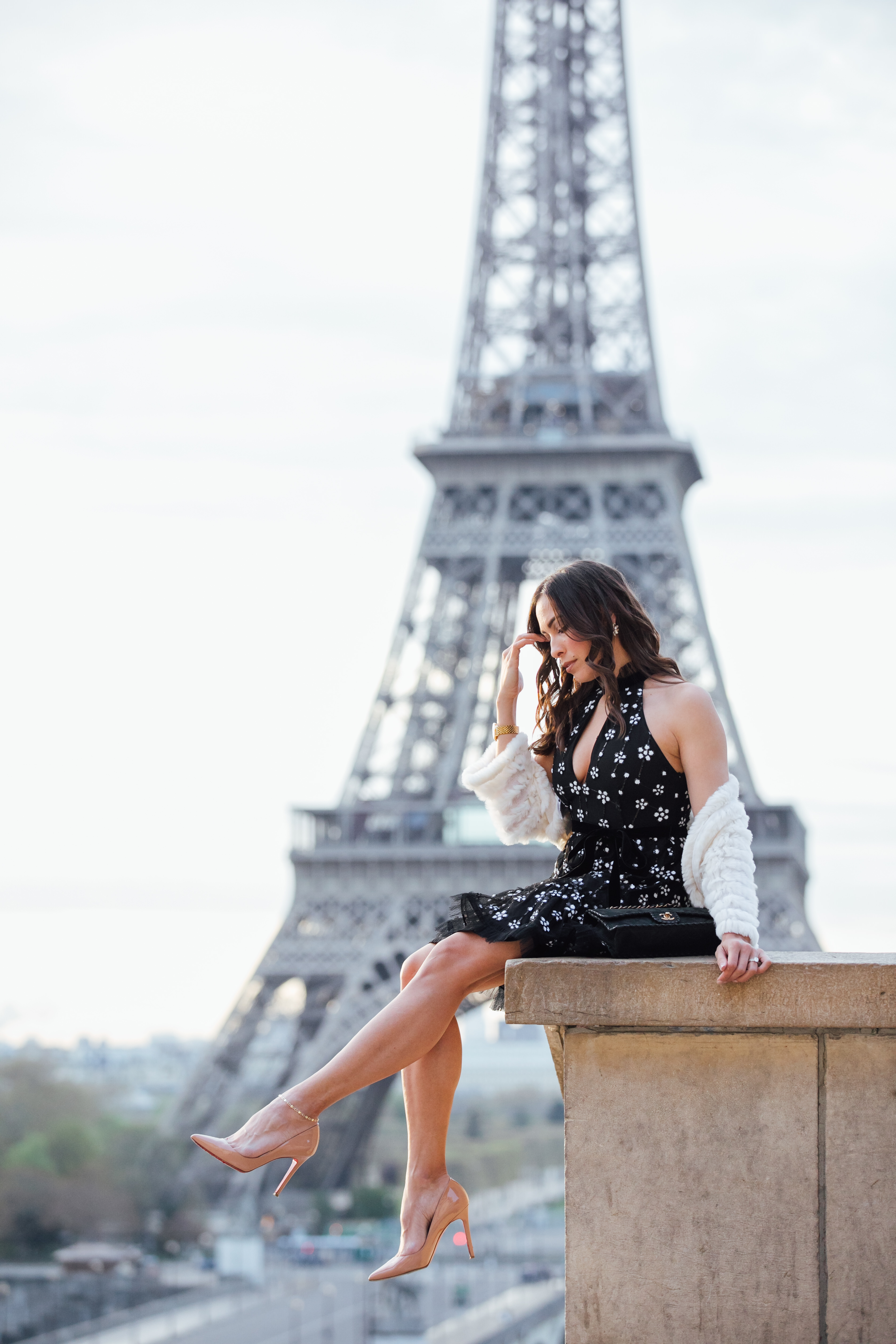 Alexis Poppy dress worn at the Eiffel Tower in Paris by Amanda from A Glam Lifestyle fashion blog