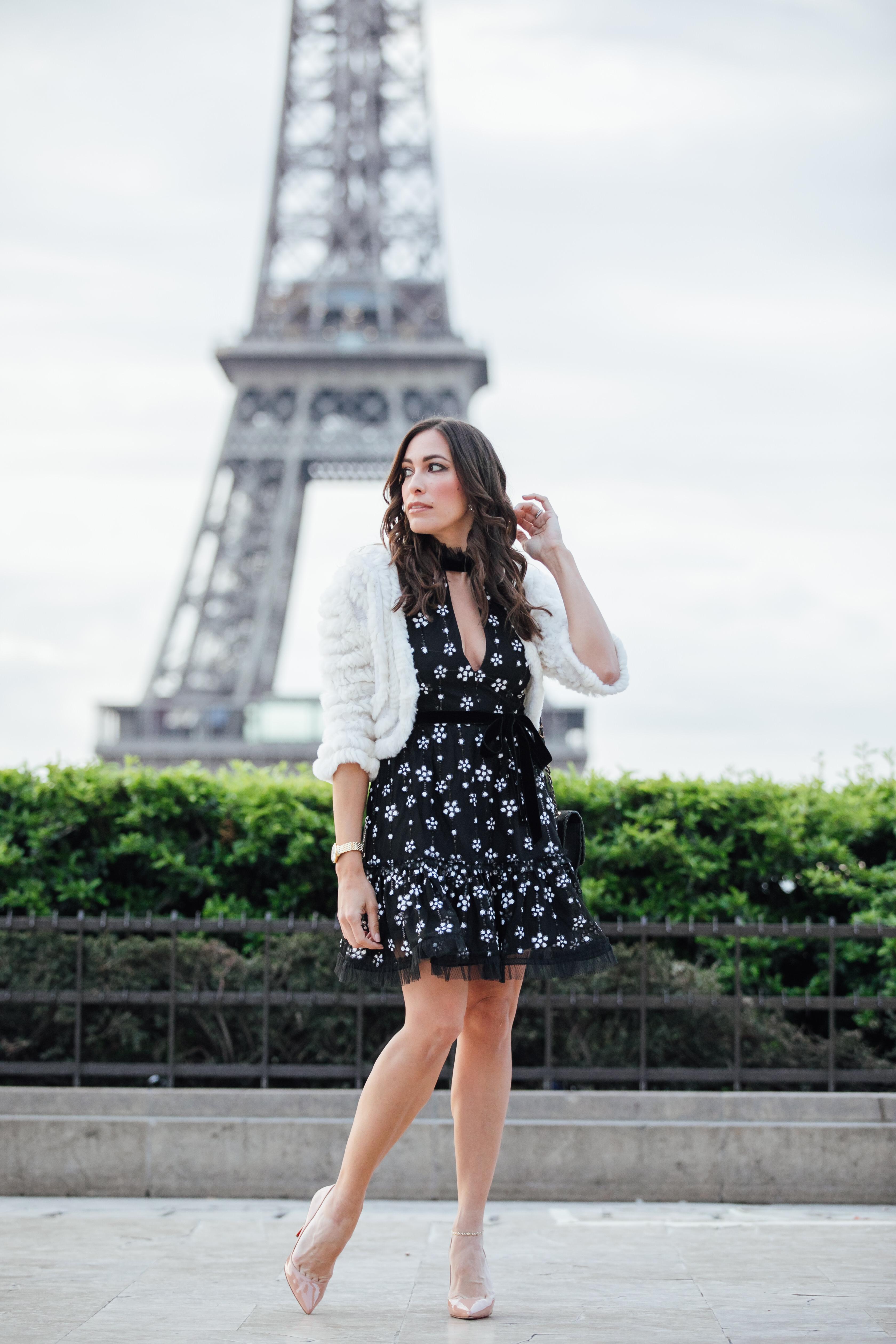Alexis dresses shown by AGlamLifestyle blogger Amanda in Paris wearing Alexis Poppy dress with BCBG fur shrug
