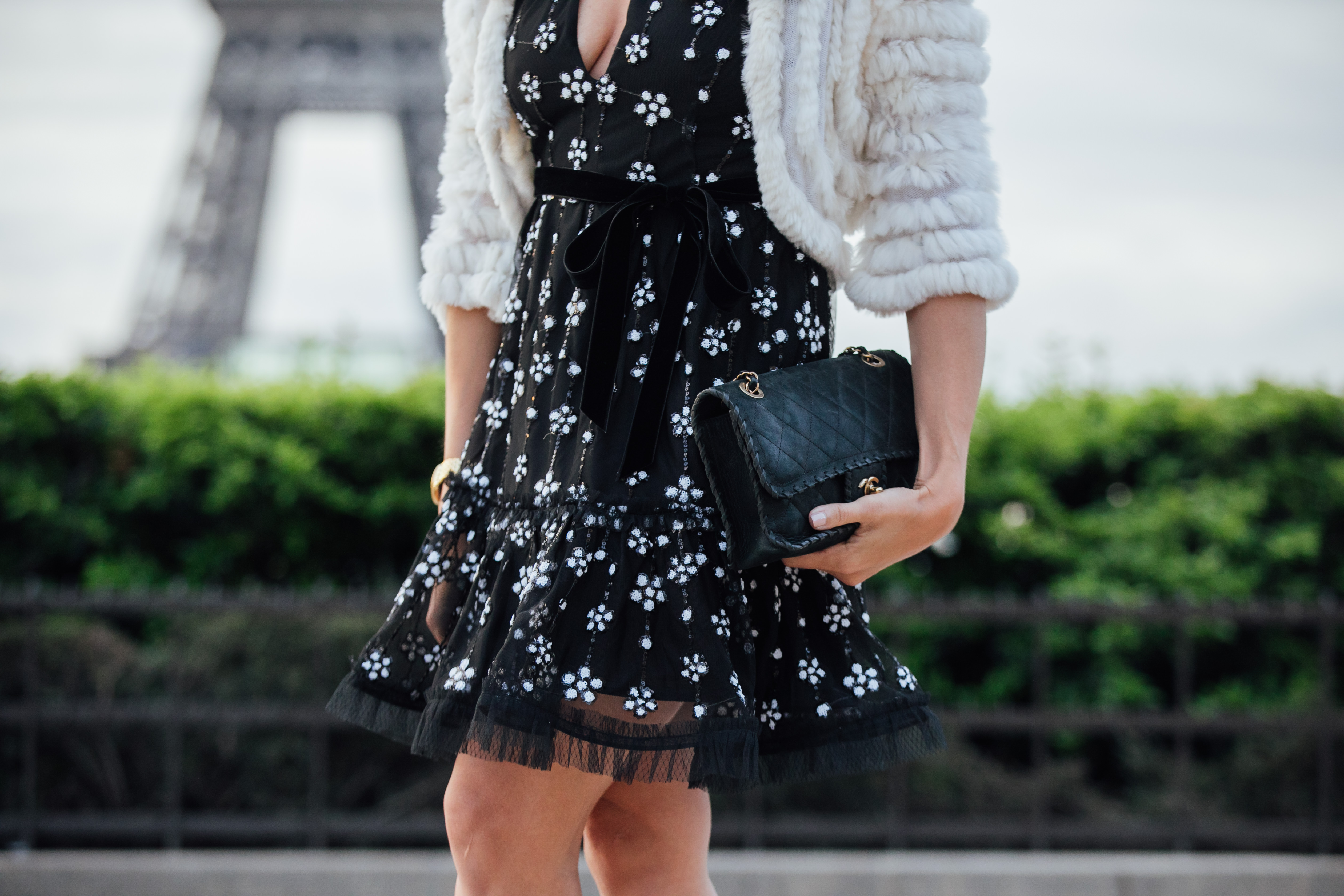 Alexis Poppy dress worn with classic Chanel bag and BCBG fur shrug by Amanda of AGlamLifestyle blog