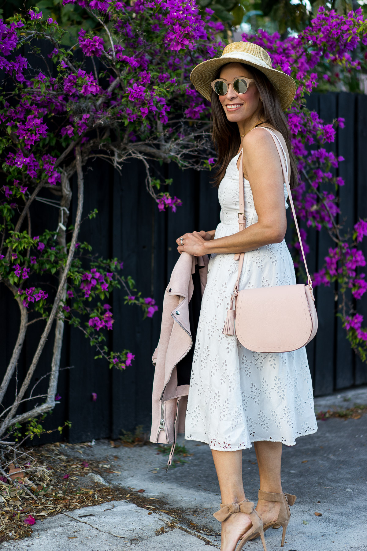 Old Navy midi dress worn with blush saddle bag to #SayHi to Spring by fashion blogger Amanda of AGlamLifestyle