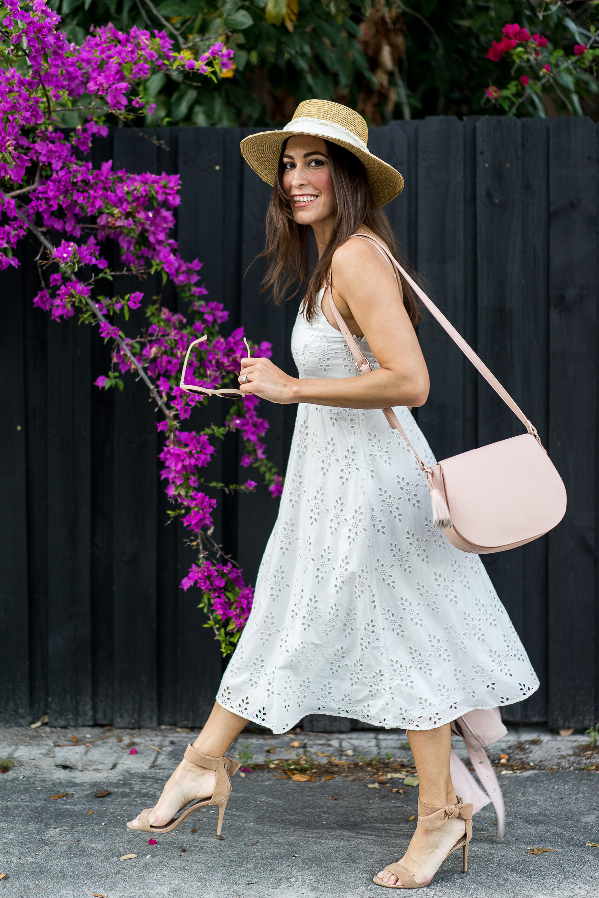 Old Navy midi dress is styled with a cute blush saddle bag to #SayHi to Spring by A Glam Lifestyle blogger Amanda