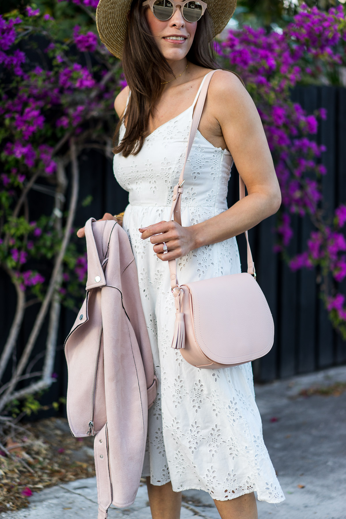 Old Navy midi dress eyelet details and blush saddle bag are perfect items to #SayHi to Spring as shown by blogger Amanda from AGlamLifestyle