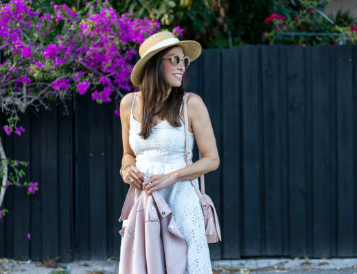 Old Navy white midi dress is styled to #SayHi to Spring by fashion blogger A Glam Lifestyle with blush saddle bag and Le Specs sunglasses