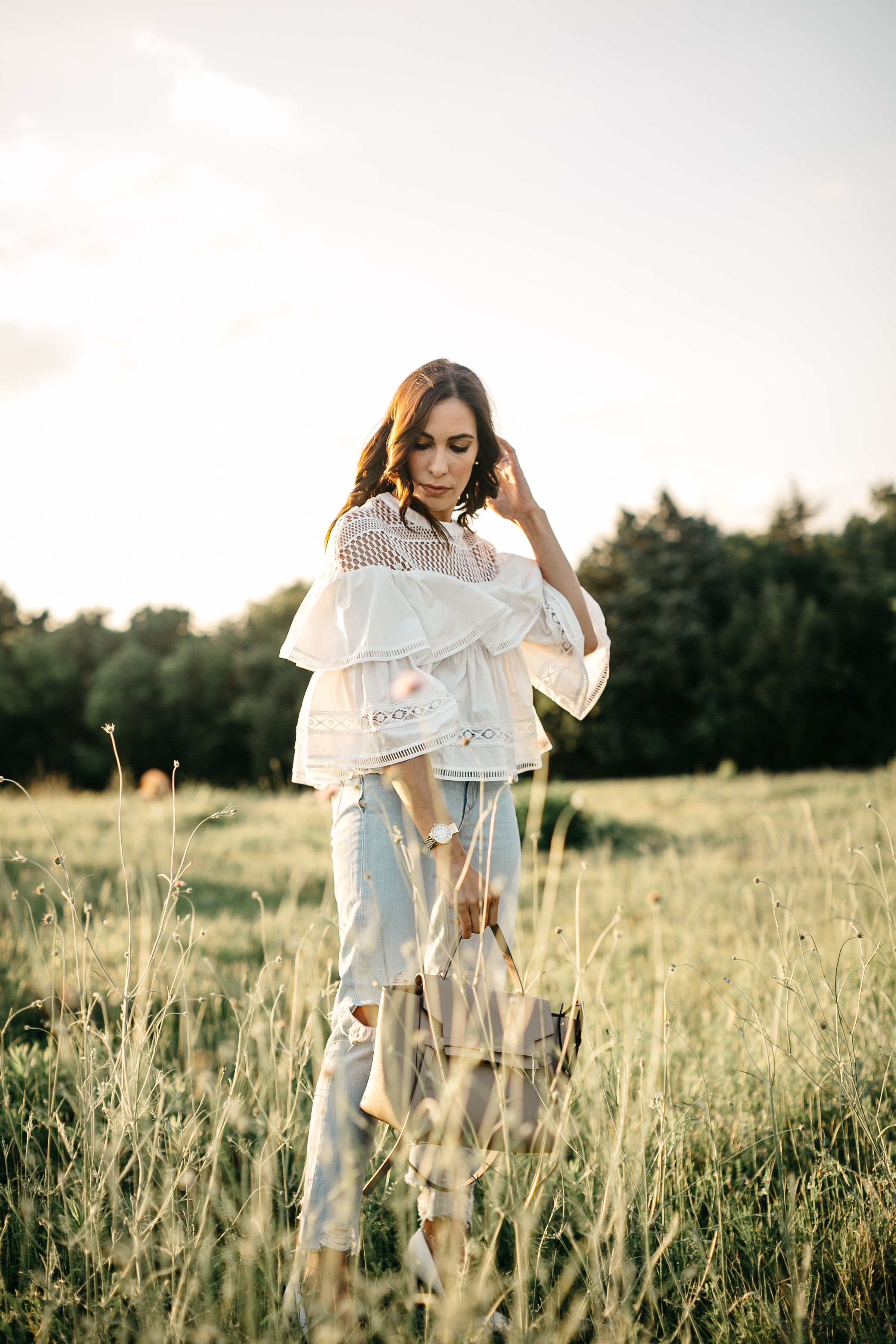 Chicwish white tiered top worn by Amanda of AGlamlifestyle Dallas style blogger