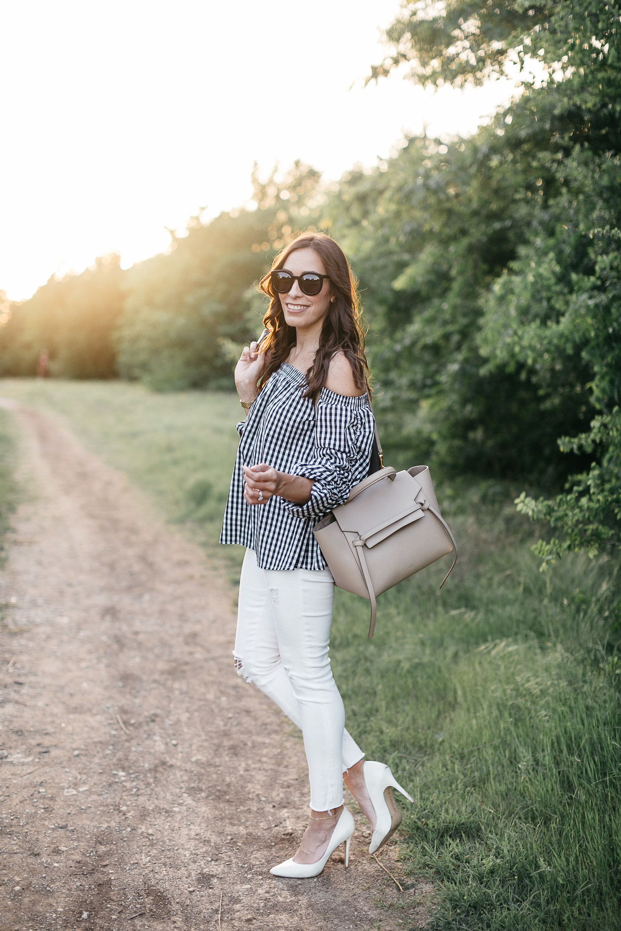 Gingham top from Chicwish worn with nude Celine Belt bag and classic white denim by Amanda of AGlamLifestyle blog