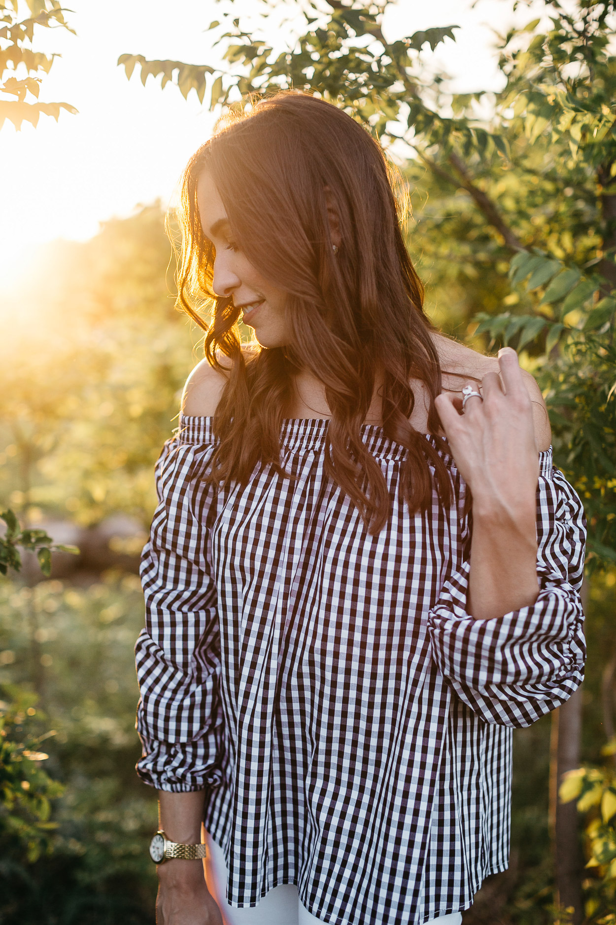 Black and white gingham top by Chicwish is styled at Arbor Hills Nature Preserve by Amanda of A Glam Lifestyle blog