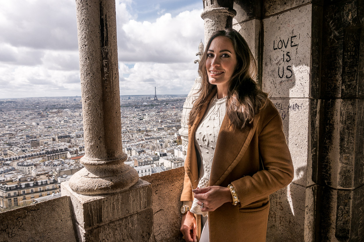 View from Sacre Coeur church after climbing to the top shown by A Glam Lifestyle blogger Amanda for best things to do in Montmartre