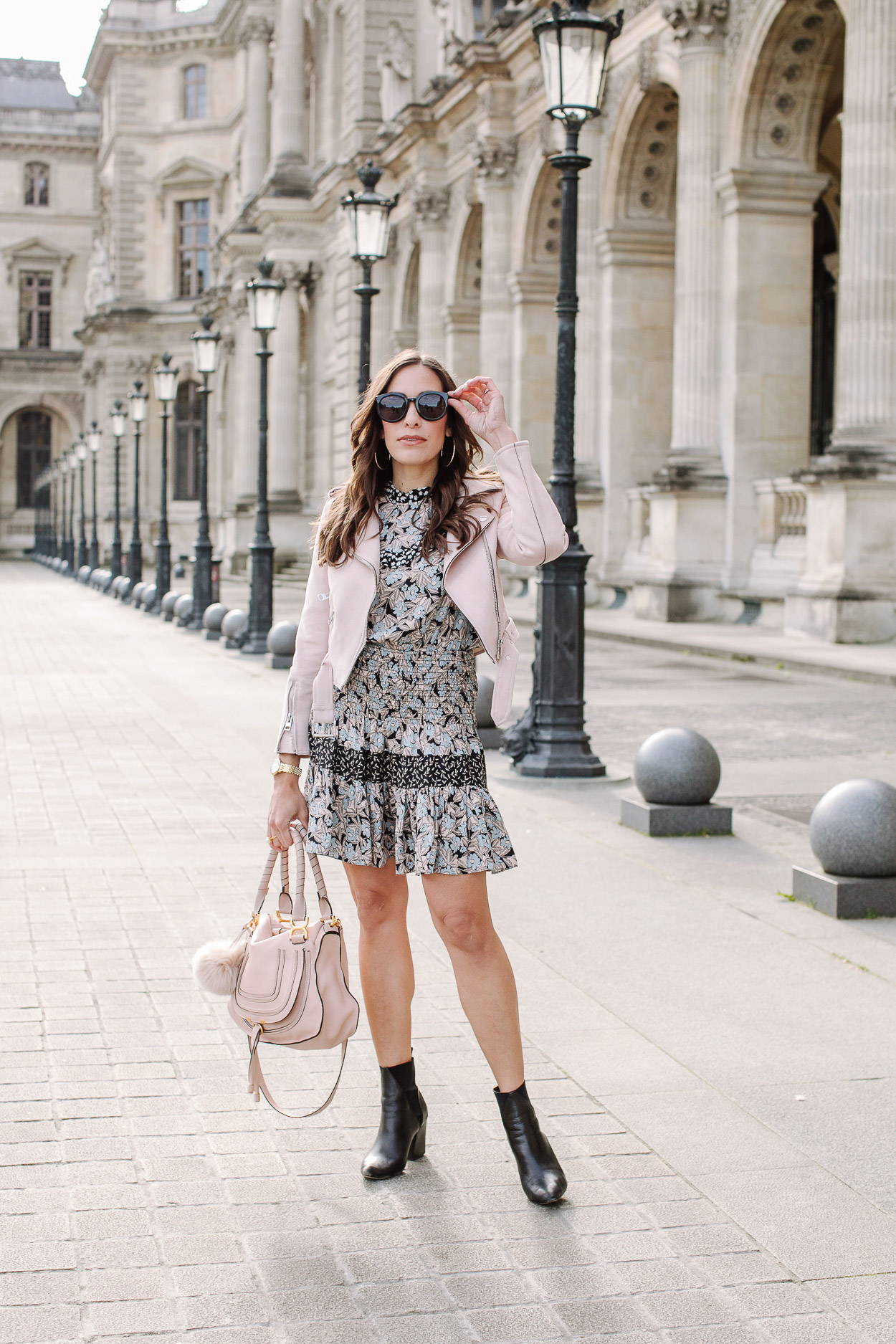 Silk floral dress worn at the Louvre is the Rebecca Taylor Bijou Patchwork dress styled by blogger Amanda of A Glam Lifestyle blog and worn with blush moto jacket and blush nude Chloe Marcie bag