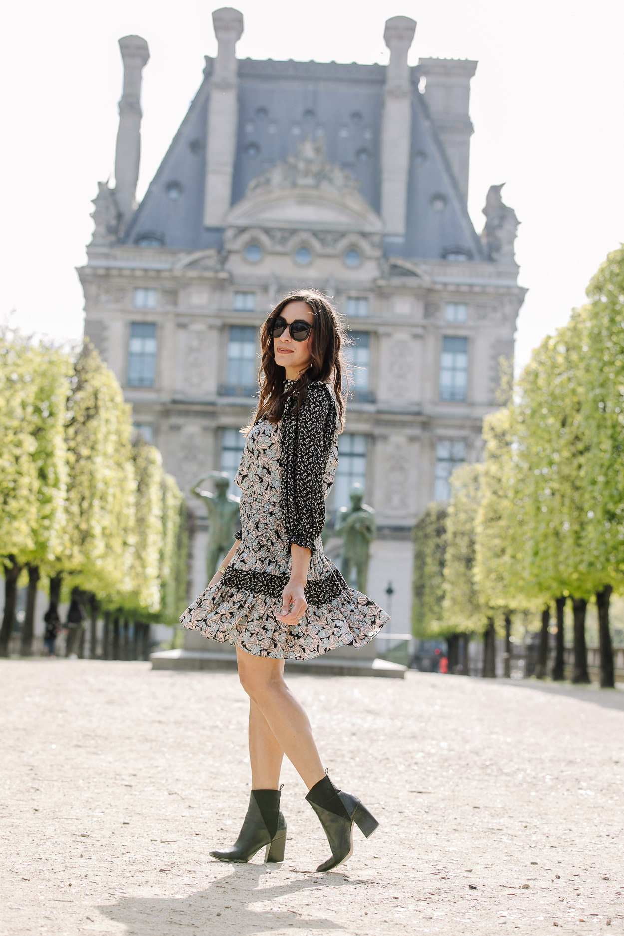 A silk floral dress is perfect for Spring like this Rebecca Taylor floral dress worn by blogger Amanda of A Glam Lifestyle at the Tuileries Garden in Paris