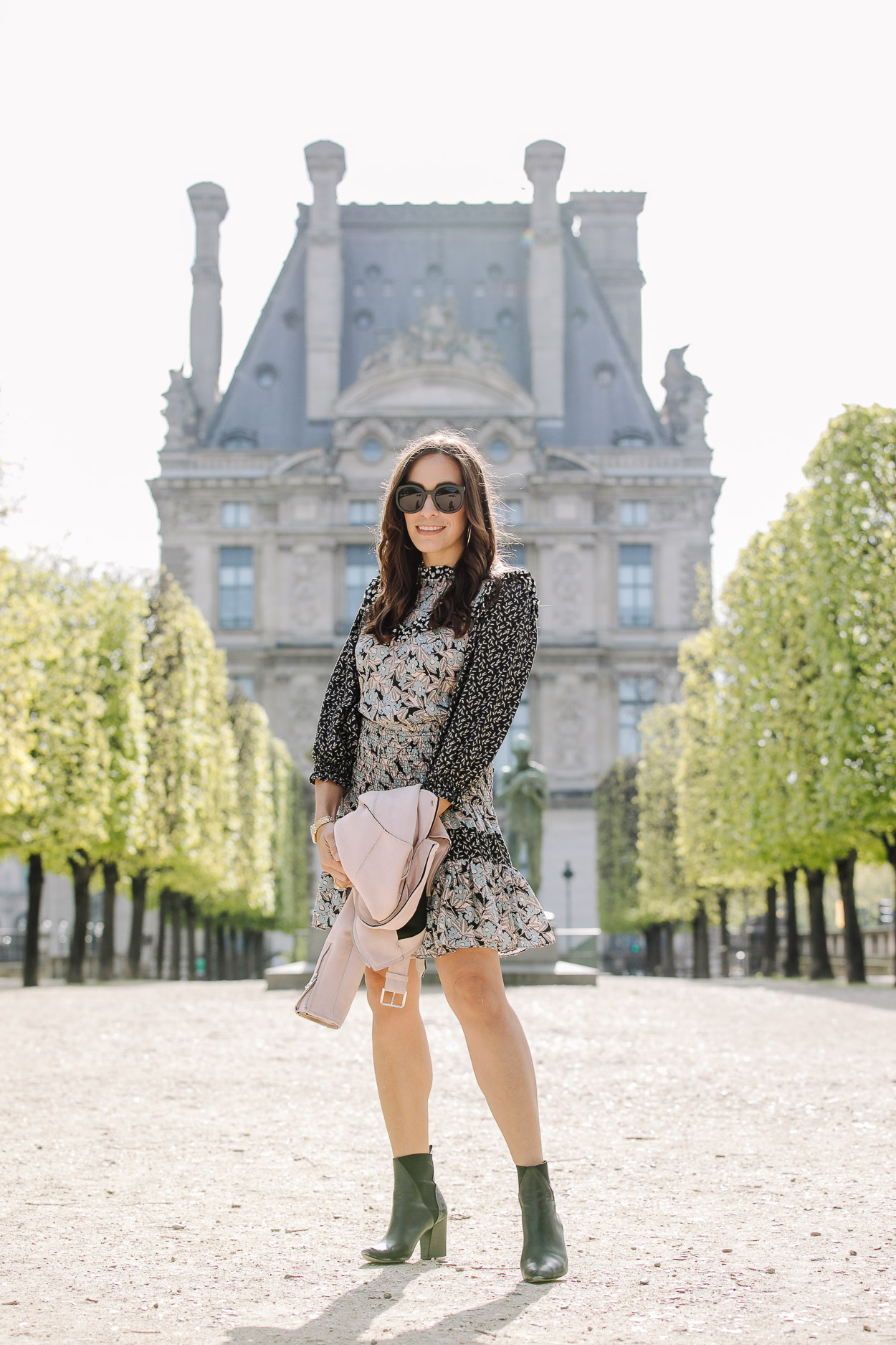 Silk floral dress worn at Garden Tuileries by AGlamLifestyle blogger Amanda on her Paris vacation