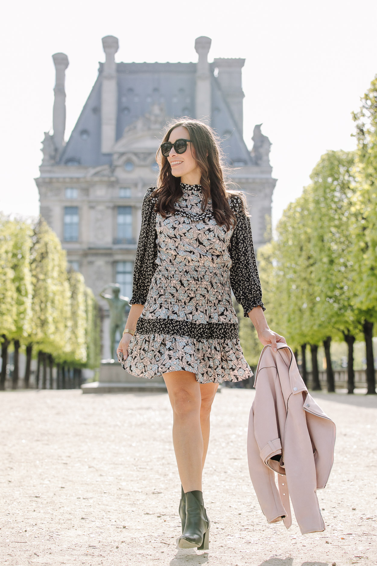 Best silk floral dress for Spring is the Rebecca Taylor Bijou Patchwork dress as worn by blogger Amanda of A Glam Lifestyle at the Tuileries Garden in Paris