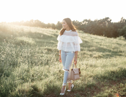 Chicwish tiered ruffle top styled with Lovers and Friends distressed jeans by South Florida blogger Amanda of A Glam Lifestyle