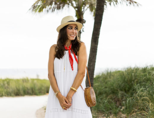 Amanda from A Glam Lifestyle blog partners with Old Navy for their #SayHi Summer style campaign in a white maxi dress and red bandana