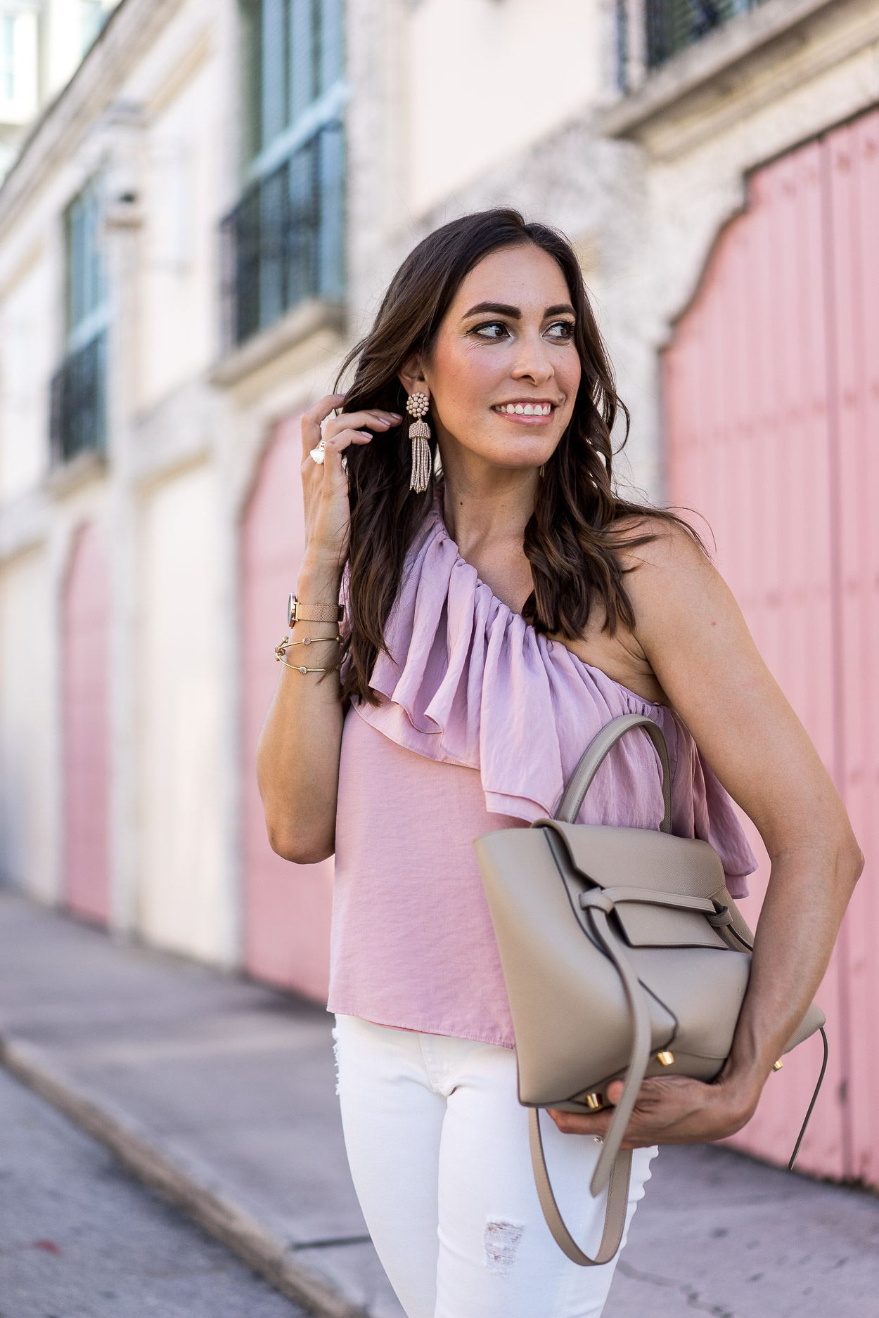 111c790e69cd Blogger Amanda shares her Celine Belt Bag review while wearing Endless Rose ruffle  top and Lisi ...