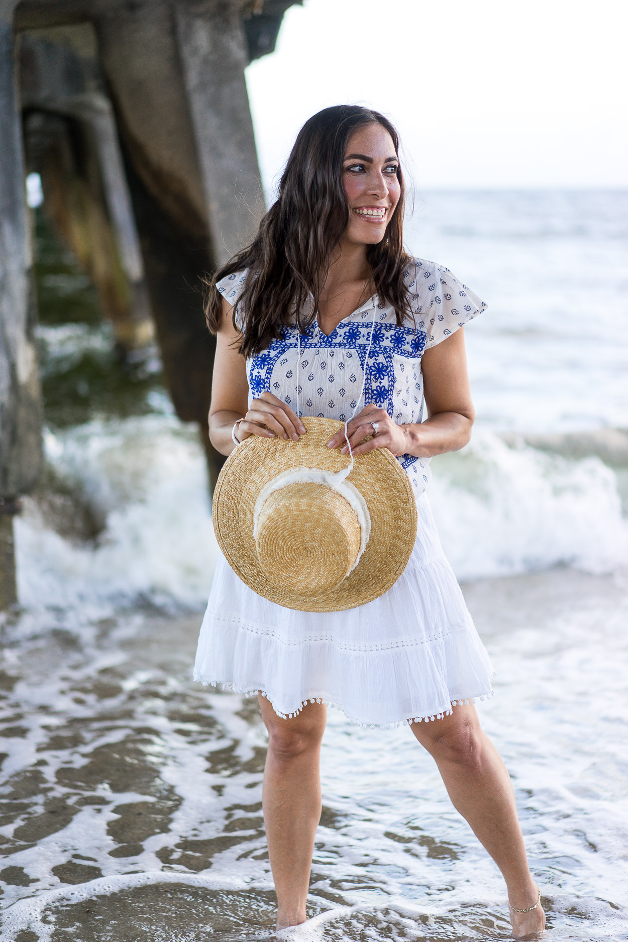 Old Navy Summer favorites picked by Amanda of A Glam Lifestyle blog in Old Navy top and skirt with straw boater hat