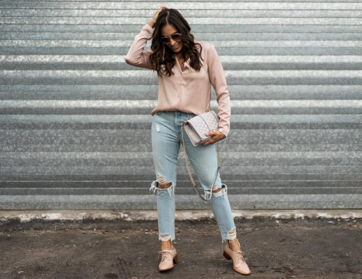 Want to know how to wear the pajama top trend? Blogger Amanda of A Glam Lifestyle styles a Wayf blush pajama top in this post.